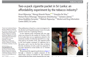 Two-a-pack cigarette packet in Sri Lanka: an affordability experiment by the tobaccoindustry?
