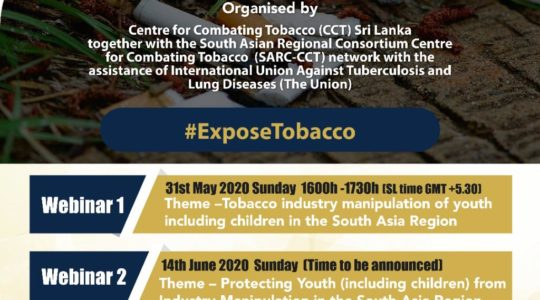 Tobacco industry manipulation of youth and children in the South Asia Region Webinar I: SARC-CCT Webinar Series to Commemorate World No Tobacco Day 2020
